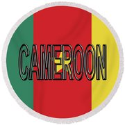 Flag Of Cameroon Word. Round Beach Towel