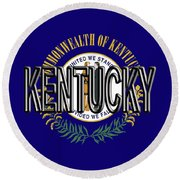 Flag Of Kentucky  Word Round Beach Towel
