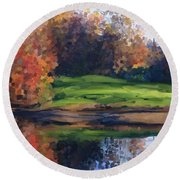 Autumn By Water Round Beach Towel by Ivana Westin
