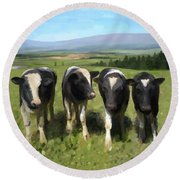 Curious Cows Round Beach Towel by Ivana Westin