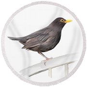 Ms. Blackbird Is Brown Round Beach Towel by Ivana Westin
