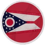 Flag Of Ohio Grunge Round Beach Towel