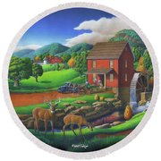 Old Red Appalachian Grist Mill Rural Landscape - Square Format  Round Beach Towel