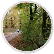 Autumn Bicycling Vertical One Round Beach Towel