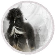 Black And Tan Afghan Hound In The Wind Round Beach Towel