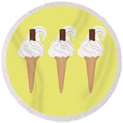 Ice Cream Round Beach Towel