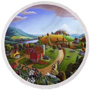 Folk Art Blackberry Patch Rural Country Farm Landscape Painting - Blackberries Rustic Americana Round Beach Towel
