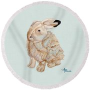 Cuddly Arctic Hare II Round Beach Towel
