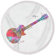 Colorful 1955 Mccarty Gibson Les Paul Guitar Patent Artwork Mini Round Beach Towel by Nikki Marie Smith