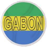 Flag Of Gabon Word. Round Beach Towel