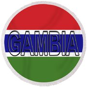 Flag Of The Gambia Word. Round Beach Towel