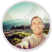 Self Portrait From A Mountain Top Round Beach Towel