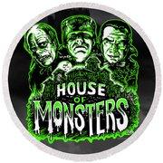 House Of Monsters Frankenstein Dracula Phantom Horror Movie Art Round Beach Towel