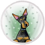 Dobie With Love Round Beach Towel