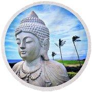Go Where You Feel Most Alive Hawaiian White Buddha Round Beach Towel