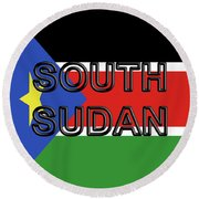 Flag Of  South Sudan Word Round Beach Towel