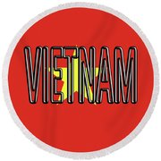 Flag Of Vietnam Word Round Beach Towel