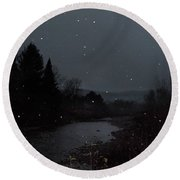 Snow Flakes By Little River Stowe Vermont Round Beach Towel
