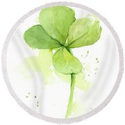 Clover Watercolor Round Beach Towel