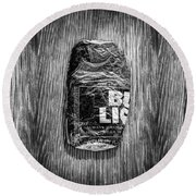 Crushed Blue Beer Can On Plywood 78 In Bw Round Beach Towel