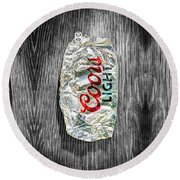 Crushed Light Silver Beer Can On Bw Plywood 79 Round Beach Towel