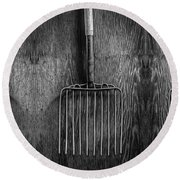 Ensilage Fork Up On Plywood In Bw 66 Round Beach Towel