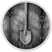 Short Handled Shovel On Plywood 72 In Bw Round Beach Towel