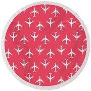 747 Jumbo Jet Airliner Aircraft - Crimson Round Beach Towel