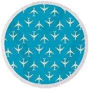 747 Jumbo Jet Airliner Aircraft - Cyan Round Beach Towel