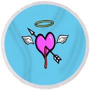 Cupids Heart Round Beach Towel