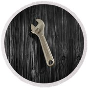 Adjustable Wrench Over Black And White Wood 72 Round Beach Towel