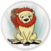 Lion Peaceful Reflection  Round Beach Towel