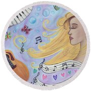 She Dreams In Music Round Beach Towel