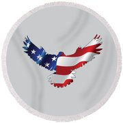 Stars And Striped Eagle Round Beach Towel
