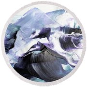 Glacier Mountains Round Beach Towel