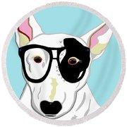 Hipster Bull Terrier Round Beach Towel
