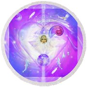 Heart Of The Violet Flame Round Beach Towel