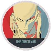 One-punch Man Round Beach Towel
