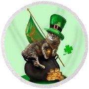 St. Patrick's Day Irish Cat Sitting On A Pot Of Gold Round Beach Towel by Regina Femrite