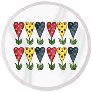 Hearts And Flowers Round Beach Towel