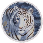 White Tiger - Crystal Eyes Round Beach Towel by Crista Forest