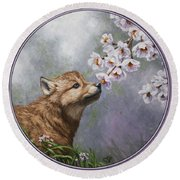 Wolf Pup - Baby Blossoms Round Beach Towel by Crista Forest