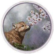 Wolf Pup - Baby Blossoms Round Beach Towel