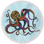 Electric Octopus Round Beach Towel by Tammy Wetzel