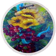 Too Delicate For Words - Yellow Flowers And Red Grapes Round Beach Towel
