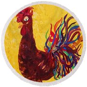 De Colores Rooster Round Beach Towel