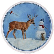 Whitetail Deer And Snowman - Whose Carrot? Round Beach Towel by Crista Forest