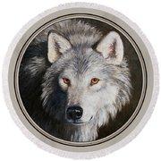 Wolf Portrait Round Beach Towel by Crista Forest