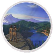 Native American Indian Maiden And Warrior Watching Bear Western Mountain Landscape Round Beach Towel