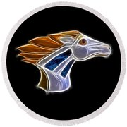 Glowing Bronco Round Beach Towel